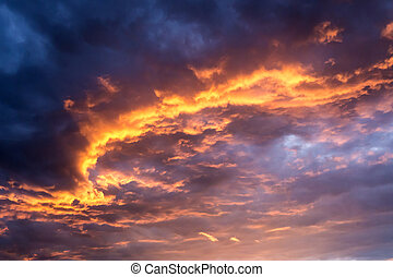 sunset sky background - sunset sky with blue, red and orange...