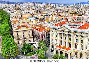 on Barcelona city from Columbus column. Barcelona,...