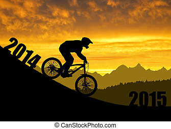 Forward to the New Year 2015 - Silhouette of the cyclist on...