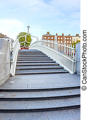 Half Penny Bridge - View of Hapenny bridge in Dublin,...