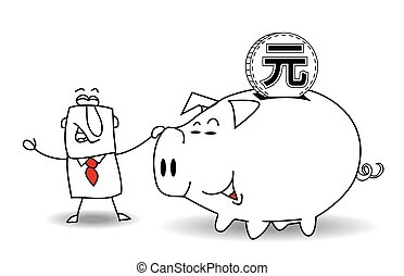 Piggy bank and yuan - This business man saves money in his...