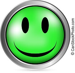 Smile face circle button on white background Vector...