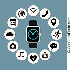 smart watch - Flat illustration of smart watch and...