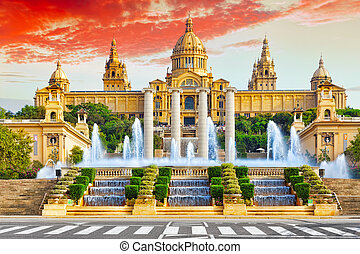 National Museum in Barcelona,Placa De Espanya,Spain