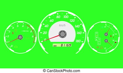 Speedometer sports car, start acceleration and braking Green...