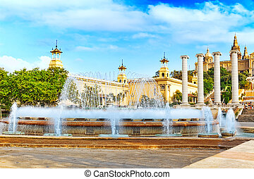 Fountain of Montjuic and Plaza de Espanya Barcelona