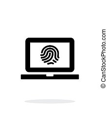 Laptop fingerprint icon on white background.