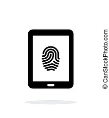 Tablet fingerprint icon on white background.