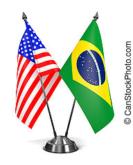 USA and Brazil - Miniature Flags. - USA and Brazil -...