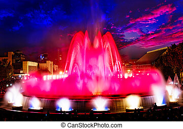 The famous Montjuic Fountain in BarcelonaSpain - The famous...