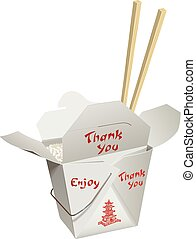 Chinese Take-Out with Chop Sticks - Chinese food in a...