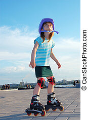 rollerblading - Four year old child rollerblading outdoor...