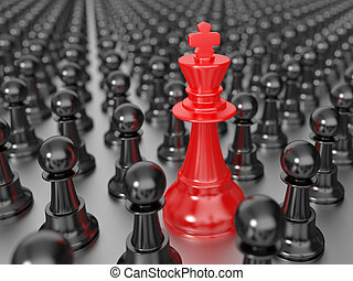 Red chess king with black pawns
