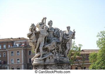 Sculpture at Vittorio Emanuele II Bridge, Rome, Italy