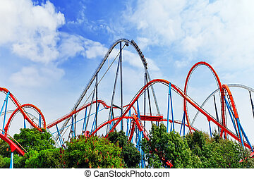 Roller Coaster in funny amusement park