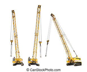 set of construction yellow crawler cranes isolated on white...