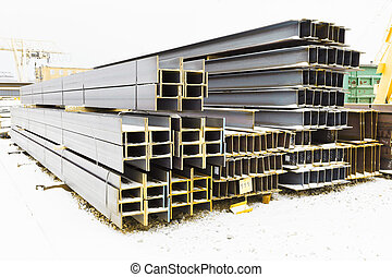 steel girders in outdoor warehouse in winter