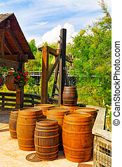 Old street with wine barrels.Wild West . - Old street with...