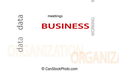 Business related words text animation White screen...