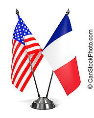 EUA, e, França, -, miniatura, Flags.,