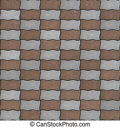 Seamless Texture of Pavement as Wavy Parallelogram. - Brown...
