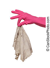 House cleaning, dirty rag - Human hand in glove holding...