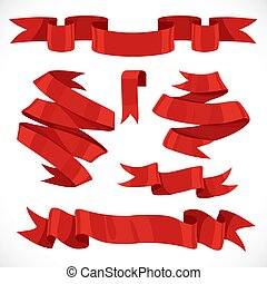 Set of vector festive red ribbons 2