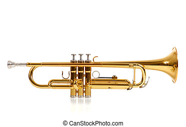 Trumpet - A brass colored trumpet on white background with...