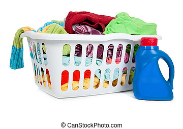 Laundry Basket - an overflowing laundry basket with a bottle...