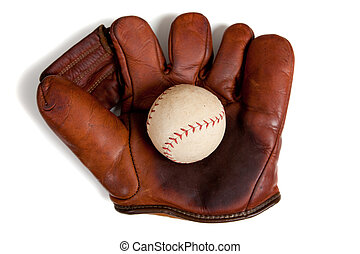Antique leather baseball glove and ball