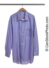 Blue shirt on hanger - Blue shirt on a wooden hanger...