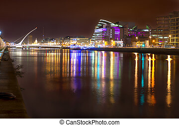 Liffey River at night - View of Liffey river at night in...