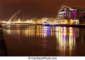 Liffey River at night - View of Liffey river at night in...