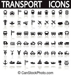 transport icons on a white background with shadow