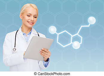 smiling female doctor with tablet pc and molecule -...