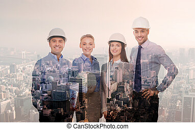 cascos, ciudad, encima, Hombres de negocios, Plano de fondo,...