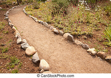 River Rock Lined Dirt Garden Path Abstract
