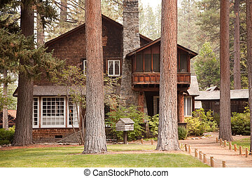 Classic Vintage Log Cabin Amidst the Pine Trees.