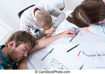 Architects fell asleep while working - Exhausted architects...