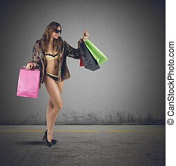 Sexy shopping - A pretty woman makes shopping in lingerie