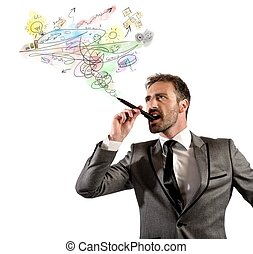 Businessman project - Businessman drawing his project in a...