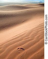Footprint on sand dunes