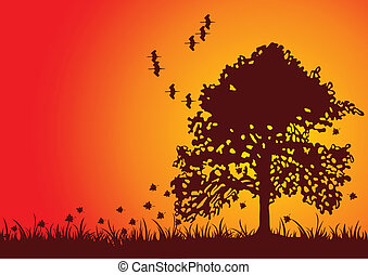Fall Tree - Autumn tree silhouette with it\'s leaves blowing...