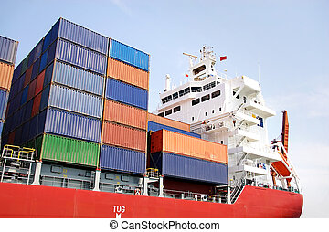 Stacked containers on ship deck - Stacked containers on ship...