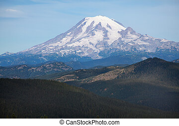 Mount Rainier - Close up view of snow covered Mount Rainier,...