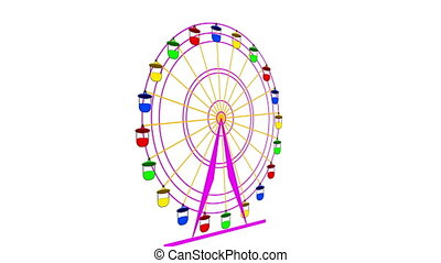 Colorful ferris wheel on a white background. 4k animation.