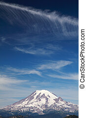 Mt Rainier with Clouds - Close up view of Mount Rainier with...