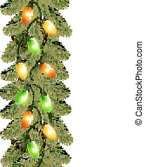 Christmas background with colorful garland and fir branches Vect