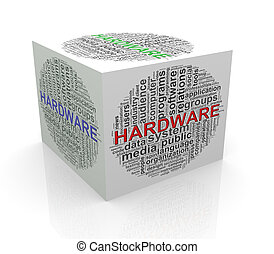 3d cube word tags wordcloud of hardware