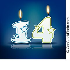 Birthday candle number 14 - Birthday candle number with...